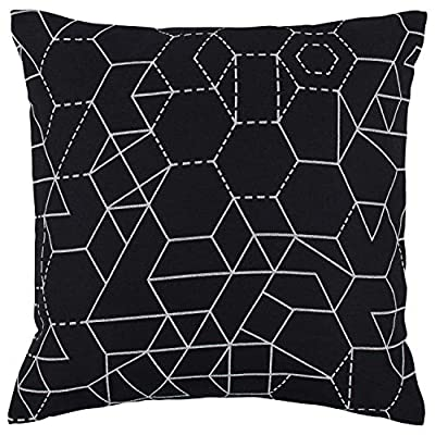 "Rivet Modern Geometric Print Pillow, 20"" x 20"" , Black - High-contrast geometric shapes are the hallmark of this striking contemporary pillow. Woven white lines on a black background keep you guessing where the pattern repeats. 20"" x 20"" Front: 42% Polyester/29% Cotton/29% Rayon; Back: 100% Polyester - living-room-soft-furnishings, living-room, decorative-pillows - 51IGvNak9NL. SS400  -"