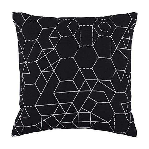 "Rivet Modern Geometric Decorative Print Throw Pillow, 20"" x 20"", Black - High-contrast geometric shapes are the hallmark of this striking contemporary pillow. Woven white lines on a black background keep you guessing where the pattern repeats. 20"" x 20"" Front: 42% Polyester/29% Cotton/29% Rayon; Back: 100% Polyester - living-room-soft-furnishings, living-room, decorative-pillows - 51IGvNak9NL. SS570  -"