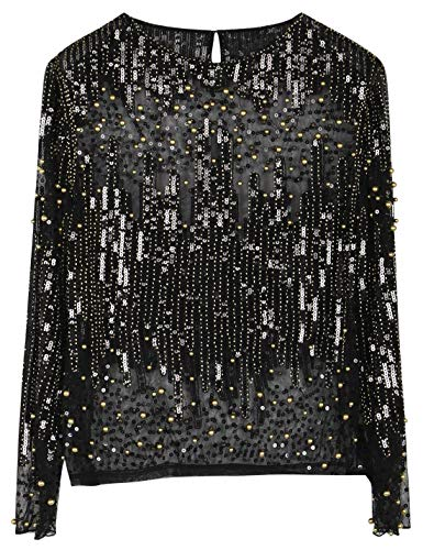 Beaded Long Sleeve Top - PrettyGuide Women's Sequin Blouse See Through Party Tops Beaded Sparkly Shirts S Gold