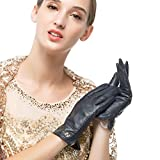 Women Classic Genuine Leather Gloves Pure Cashmere Lining Winter Warm Gloves