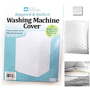 White Vinyl Quilted Washing Machine Dryer Cover Top Load Dust Zippered Appliance