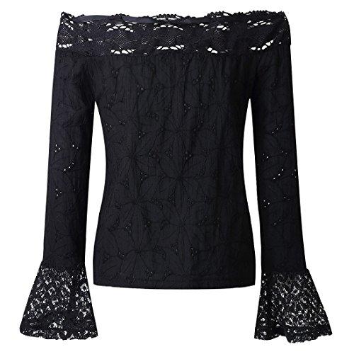 QIYUN.Z Las Mujeres De Verano Cuello Cuello Cuerno Manga Blanca Encaje Frío Hombro Sin Tirantes T-Shirts Negro
