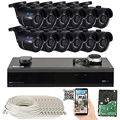 GW H.265 4K NVR 8-Megapixel Network PoE Security Camera System, 8MP 3.6mm Wide Angle Lens IP Cameras with Hard Drive