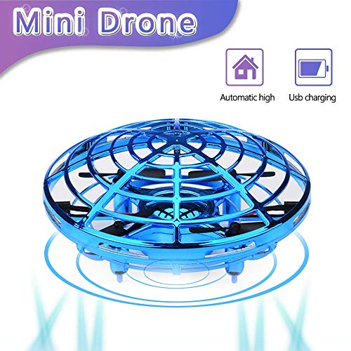 zerkar Flying Ball Mini Drone Toy Hand-Controlled Drone 360° Rotating and Shinning LED Lights Flying Toys Interactive Infrared Induction Helicopter Ball for Boys and Girls Kids Gifts (Blue) by zerkar (Image #9)