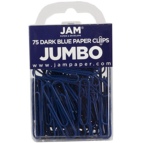 JAM Paper Colored Jumbo Paper Clips - Dark Blue Paperclips - 75/pack