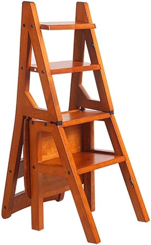 XITER-Taburete Escalera Escaleras de Madera Maciza Silla Escalera Silla Casa Fold Subir para Arriba Madera Utilidad Escalera de Mano Taburete Taburete Creativo de Doble Uso Paso en Madera: Amazon.es: Hogar