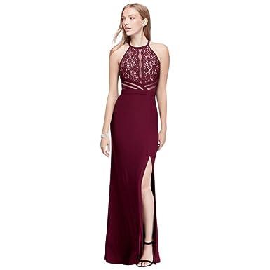 Amazon.com: David\'s Bridal Jersey Halter Prom Dress With Sheer Mesh ...