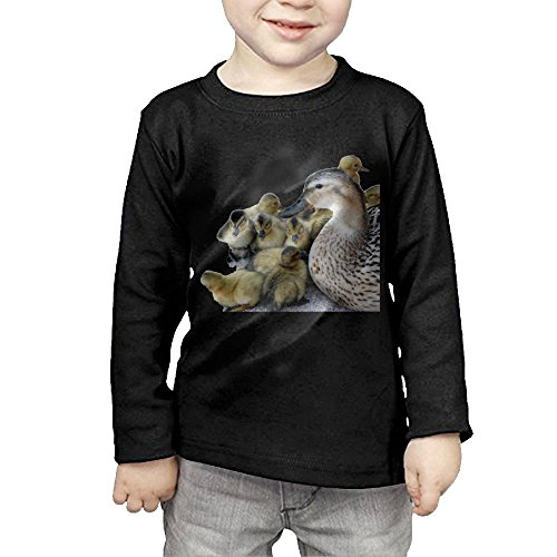 ZiXia Kid's Wild Mother Duck and Ducklings Casual Style Hiking Black Shirts 5-6 Toddler Long (Anaheim Mighty Ducks Rock)
