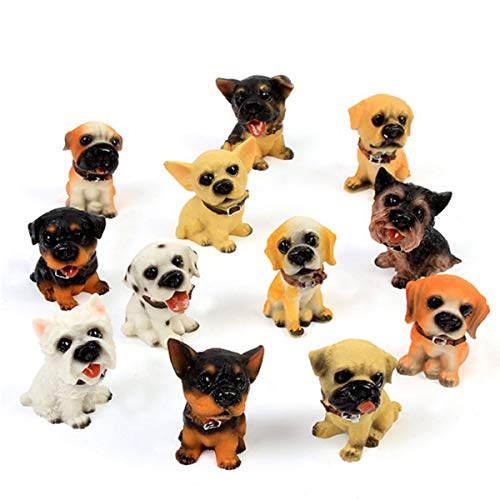 (12 Pcs Deluxe Puppy Figurines, Cute Puppy Dog Figures, Hand Painted Emulational Resin Dog Figurines Toy Set, Kids Toddlers Christmas Birthday Gift )