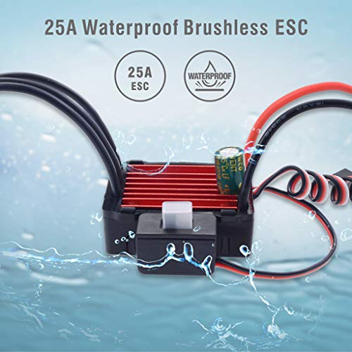 DDLmax Waterproof Sensorless Brushless ESC 25A Speed Controller for 1/18  1/16 RC Car