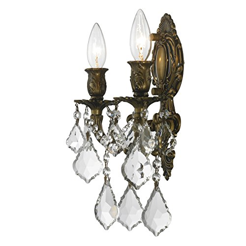 Worldwide Lighting W23313B12 Versailles 2 Light Candle Wall Sconce, Antique Bronze Finish and Clear Crystal, Medium Fixture, 12'' W x 13'' H by Worldwide Lighting (Image #4)