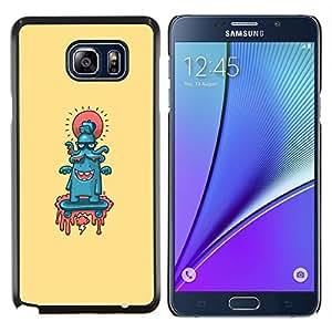 KLONGSHOP // Cubierta de piel con cierre a presión Shell trasero duro de goma Protección Caso - Pulpo lindo Resumen - Samsung Galaxy Note 5 5th N9200 //