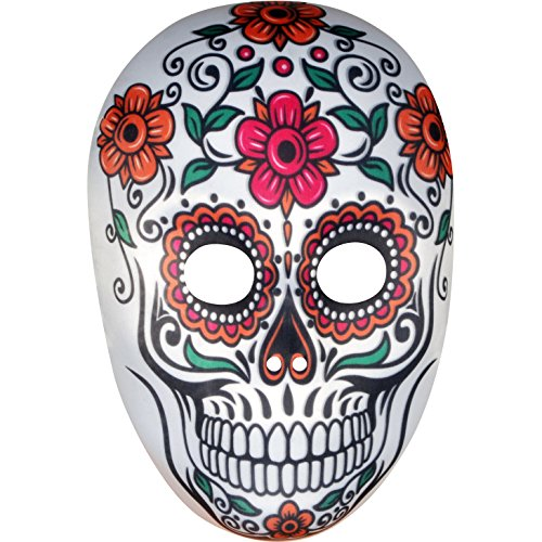 Loftus International Star Power Day of The Dead Sugar Skull Face Mask, White Multi, One-Size Novelty Item -