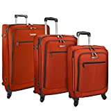 Traveler's Choice Merced 3-Piece Lightweight Expandable Luggage Set, Red (21″/22.5″/27″)