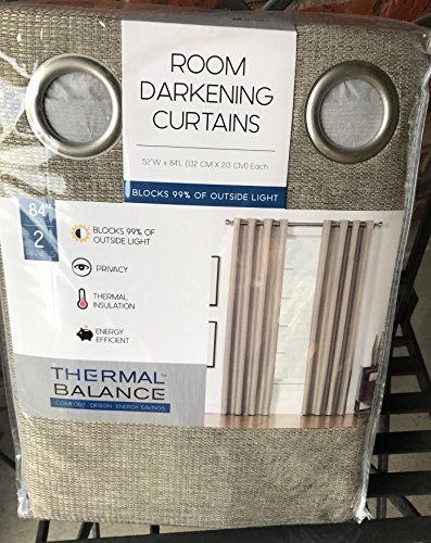 - Thermal Balance Set of 2 Light Brown color Room Darkening Curtains Blocks 99% of outside light 84 inch panels