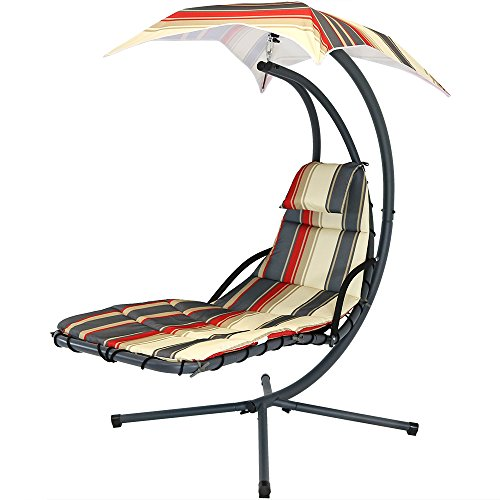 Sunnydaze Modern Lines Floating Chaise Lounger Swing Chair with Canopy Umbrella, 43 Inch Wide x 80 Inch Tall