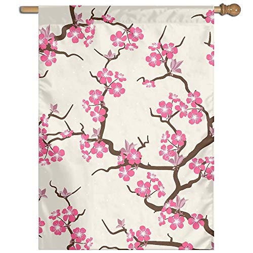 YUANSHAN Single Print Home Garden Flag Cherry Blossom Polyester Indoor/Outdoor Wall Banners Decorative Flag 27
