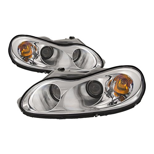 HEADLIGHTSDEPOT Chrome Housing Halogen Headlights Compatible with Chrysler Concorde LHS Includes Left Driver and Right Passenger Side Headlamps