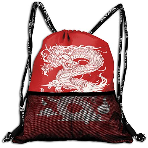 - Polyester Drawstring Bag Theft Proof Water Resistant Large Size String Bag Large Capacity For Basketball, Volleyball, Sports & Workout Gear (Chinese Dragon Red)