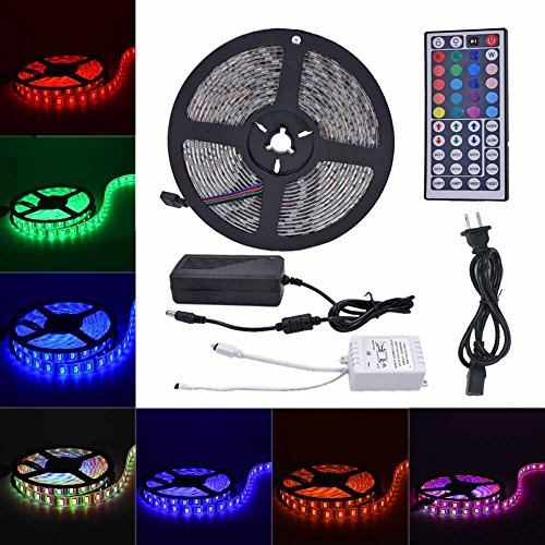 DAISEN Led Strip Light, 16.4FT(5M) SMD5050 Waterproof 300LEDs Flexible Color Changing RGB Flexible LED Light Strip Kit (Multicolor)