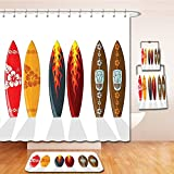 Beshowereb Bath Suit: Showercurtain Bathrug Bathtowel Handtowel Surfboard Decor Collection Collection of Boards with Hawaiian Patterns and Flames Mask Active Full of Life Stylish Swim Image Red