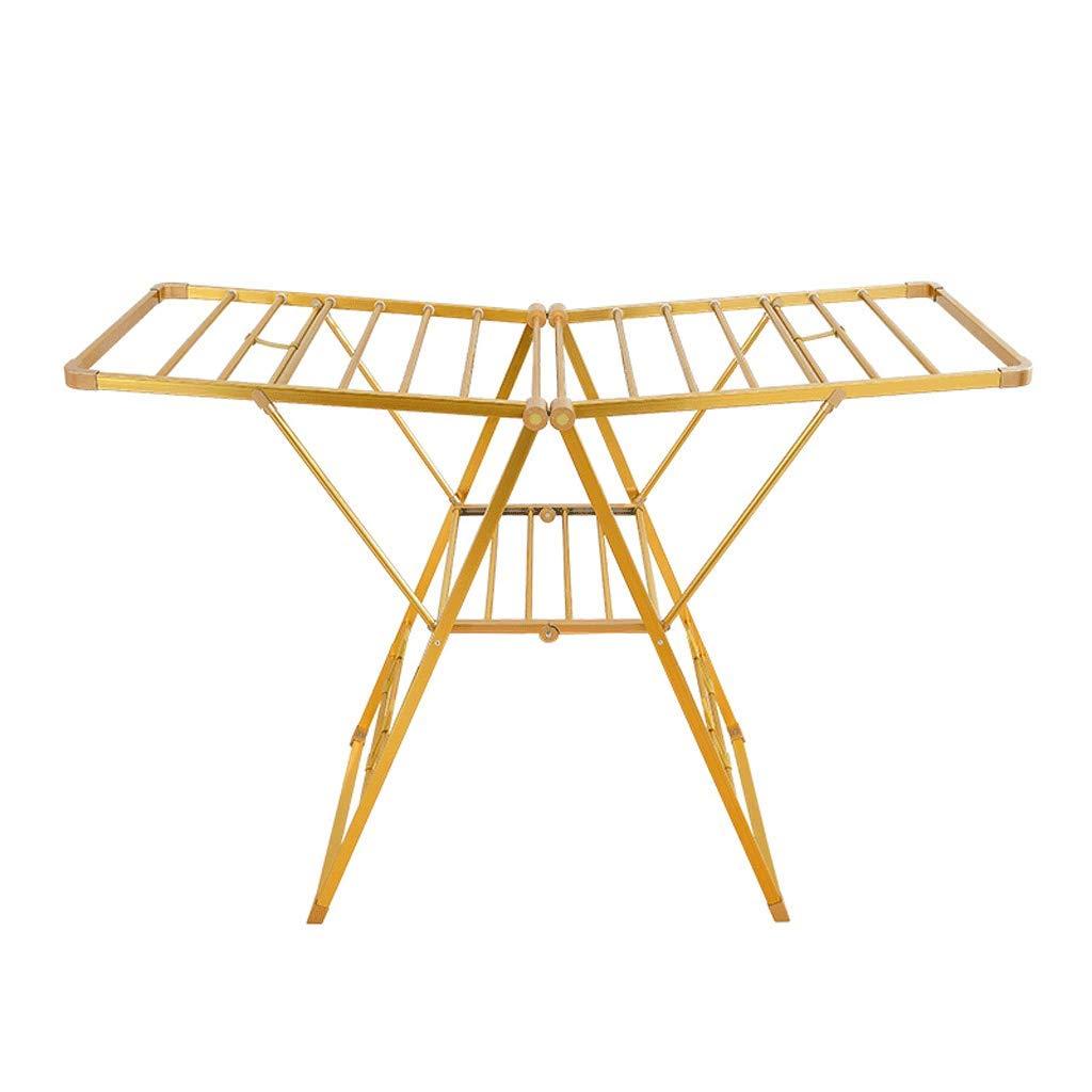 乾燥ラックアルミニウムフロアラック折りたたみ式棟タイプ屋内および屋外バルコニー可動式乾燥ラック乾燥ラック (Color : Gold) B07HMNPDH6 Gold