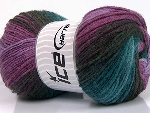 Lot of 4 x 100gr Skeins ICE Magic Light Yarn Purple Shades Turquoise Brown