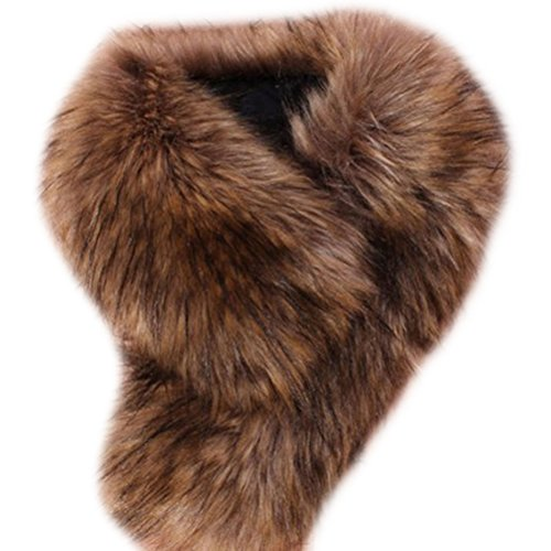Brown Hood - Tuesdays2 Women's Faux Fur Scarf Scarves Collar Shawl Wraps Stole Hood Trim Fluffy (Brown)