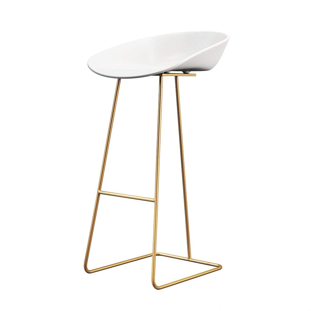 White Sitting height70cm JU FU Iron Bar Stool, Modern Bar Chair,Black White PP Material Cushion and Wrought Iron Scaffolding, Suitable for Counter, Kitchen Breakfast Bar, Sitting Height 65 75cm Load 100Kg