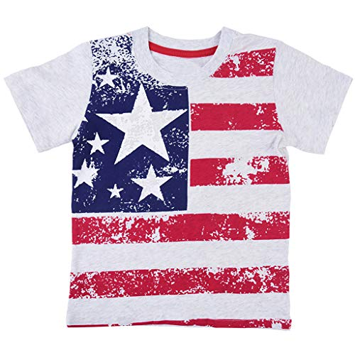 LiLiMeng Toddler Baby Boy Girl Kid Short Sleeve Flag Printed Tops T-Shirt Clothes Gray ()