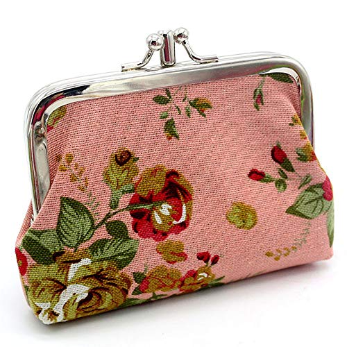 (Women's Colorful Flower Print Wallet Credit Card Holder Purse Signature Cotton Wallets Metal Frame Kissing Lock Coin Mini Clutch)