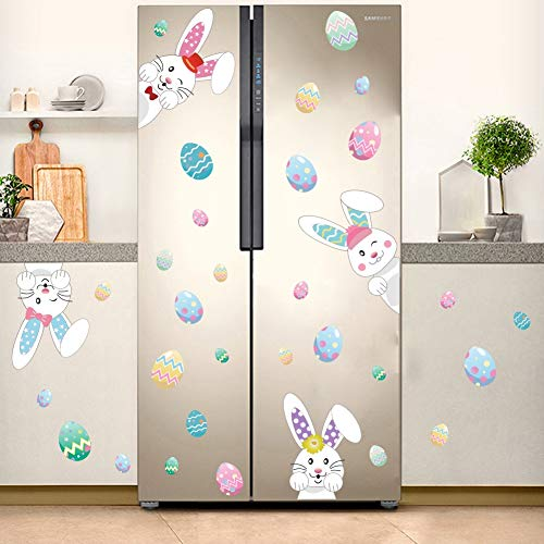 Easter Wall Decorations (Cartoon Easter Bunnies Wall Decals Easter Eggs Wall Stickers, Lovely Easter Sticker Baby Room Decoration, Fridge Window Cling Decals Easter Home Decor(33)