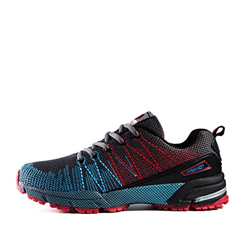 Air Cushion Sport Running Mens Womens Training Shoes Lightweight Flyknit Walking Sneakers Casual Shoes Red Qn0Oq9F