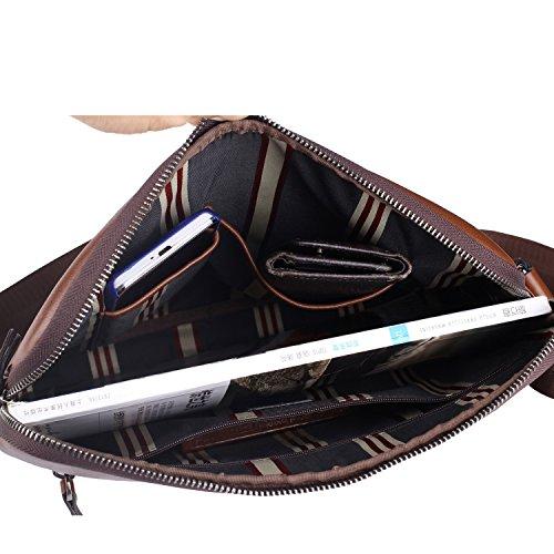 Banuce Small Vintage Leather Menssenger Bag for Men Shoulder Crossbody Bag Brown by Banuce (Image #6)