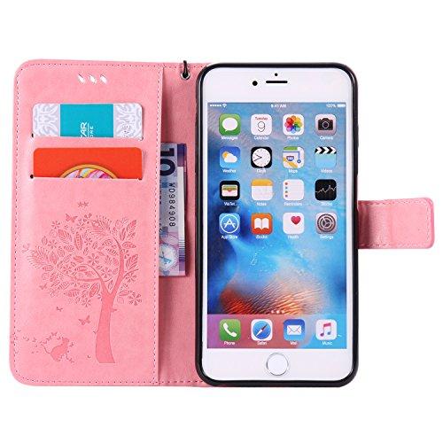 Leather Case Cover Custodia per Apple iPhone 6s Plus (5.5 Zoll ) ,Ecoway Caso / copertura / telefono / involucro gatto farfalla Albero in rilievo Disegno retro della del modello PU con a Bookstyle tas