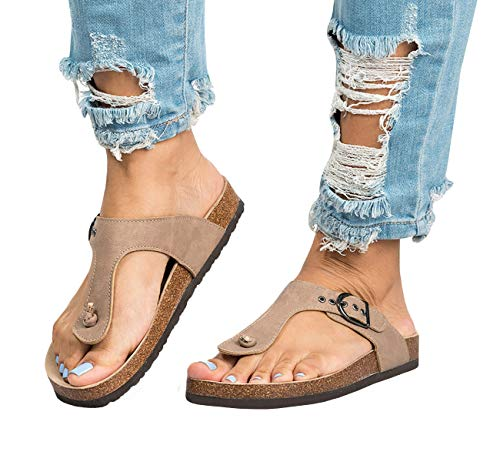 Womens Thong Sandals Slip-On Adjustable Strap Buckle Footbed Flip-Flop Cork Sandal