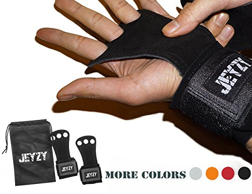 - Jeyzy 3 hole hand grips and gymnastics grips Great for pullups, Cross Training, weight lifting, chin ups, training, exercise, kettlebell, more. (M, Black)