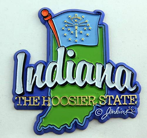 Indiana State Map-Flag Fridge Collectible Souvenir Magnet ()