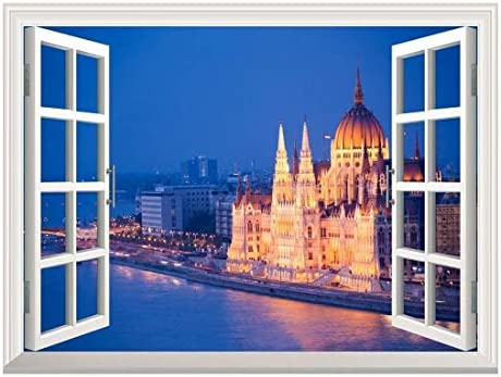Removable Wall Sticker/Wall Mural - Beautiful View of a Grand Palace by a River at Night | Creative Window View Wall Decor - 24