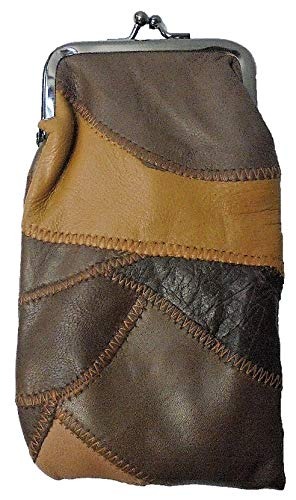 Lambskin Patched Leather - ECLIPSE Brown Patched Full Lamb Skin Cigarette Case Pouch, Coin Purse, 120s, 3212P