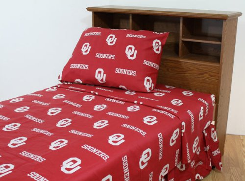- College Oklahoma Sooners Crimson Collegiate Sheet Set (Twin)