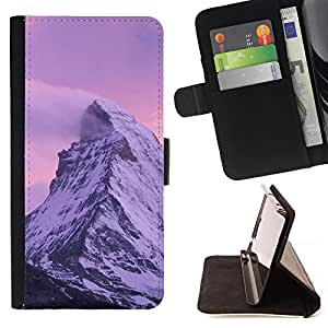 BullDog Case - FOR/Apple Iphone 4 / 4S / - / Nature Pink Mountain /- Monedero de cuero de la PU Llevar cubierta de la caja con el ID Credit Card Slots Flip funda de cuer