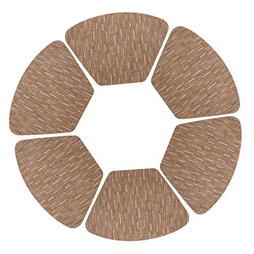 ASLKV Placemats Fan-Shaped PVC Environmental Protection American Round Table Plate Pad Insulation Wear-Resistant Household Items Non-Slip Mat 6 Piece Set 48X33Cm, Light Brown