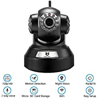 Wireless Security Camera, 720P HD Night Vision Indoor Home Surveillance IP Camera with Motion Detection and Two Way Audio (26 ft-Black)