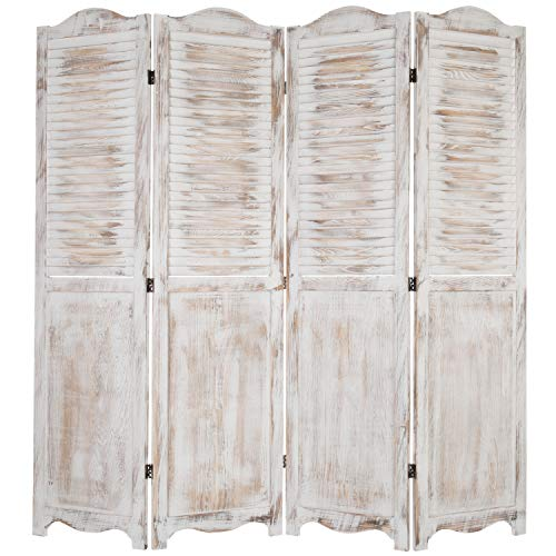 Indoor Divider - MyGift 4-Panel Antique Whitewashed Wood Louvered Room Divider Screen with Dual-Action Hinges