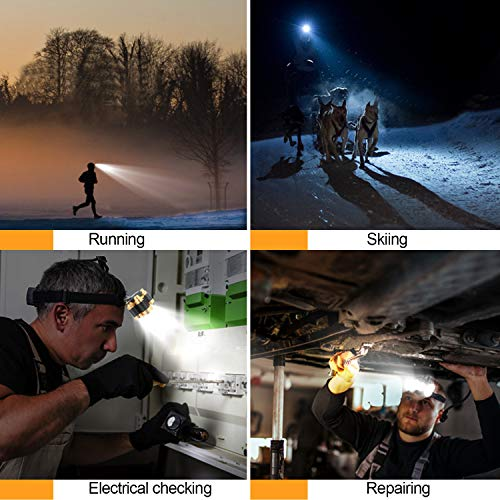 Soft Digits Headlamp Flashlight, 1100 Lumens USB Rechargeable Headlight, 8 Modes Work Light, Waterproof Head Lights with Motion Sensor and Built in Batteries for Outdoors, Household, 2Pack