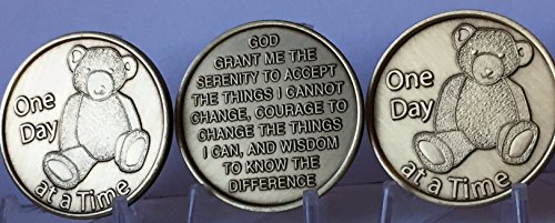 wendells Set of 3 Teddy Bear - One Day at A Time - Serenity Prayer Medallions Sobriety Chip Set