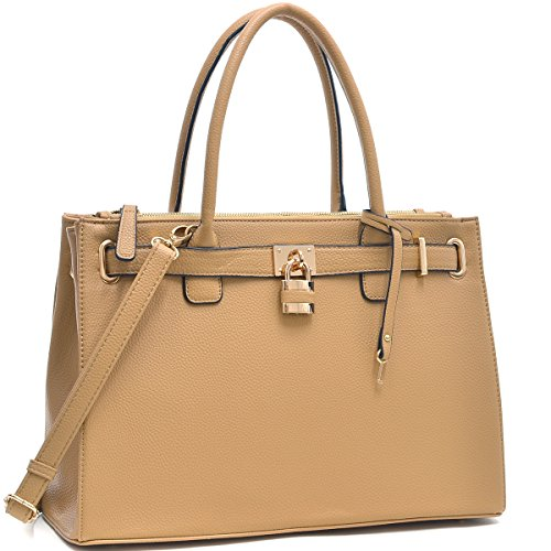 Dasein Faux Leather Padlock Structured Briefcase Satchel Handbag, Tablet, iPad Bag (Classic Style 1, 0326 - Tan)