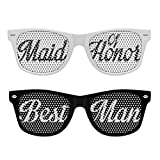 2 PACK (Maid of Honor & Best Man) Retro Party Sunglasses