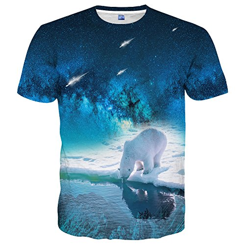 Yasswete Unisex Graphic Tees 3D Animal Short Sleeve Blue Shirts Summer Tops Size L
